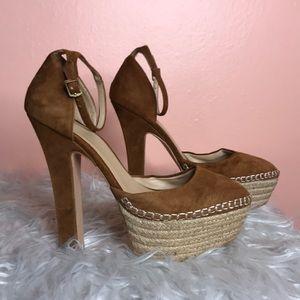 Zara Basic suede platform heels size 39 tan